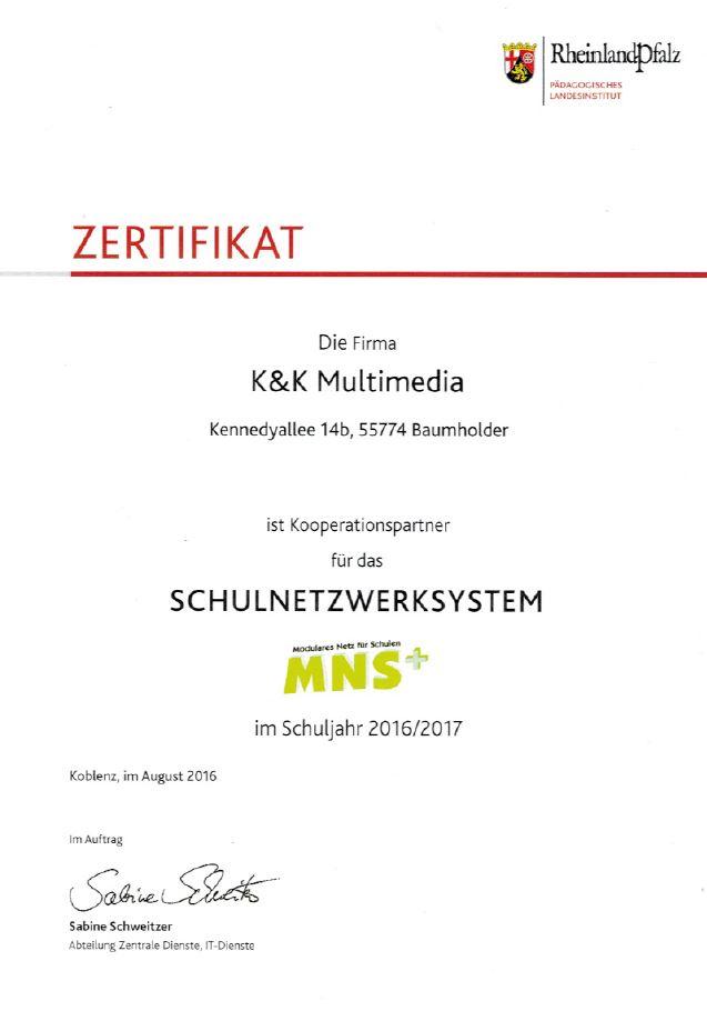 Zertifikat K&K Multimedia GbR 2016/17