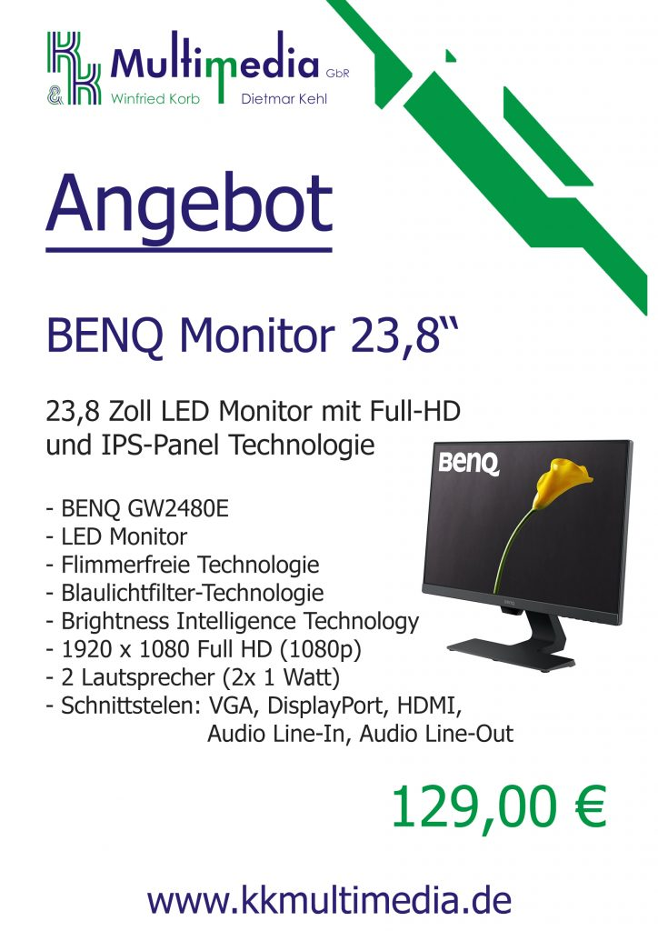 BENQ 23,8 Zoll LED Monitor mit Full-HD  und IPS-Panel Technologie
