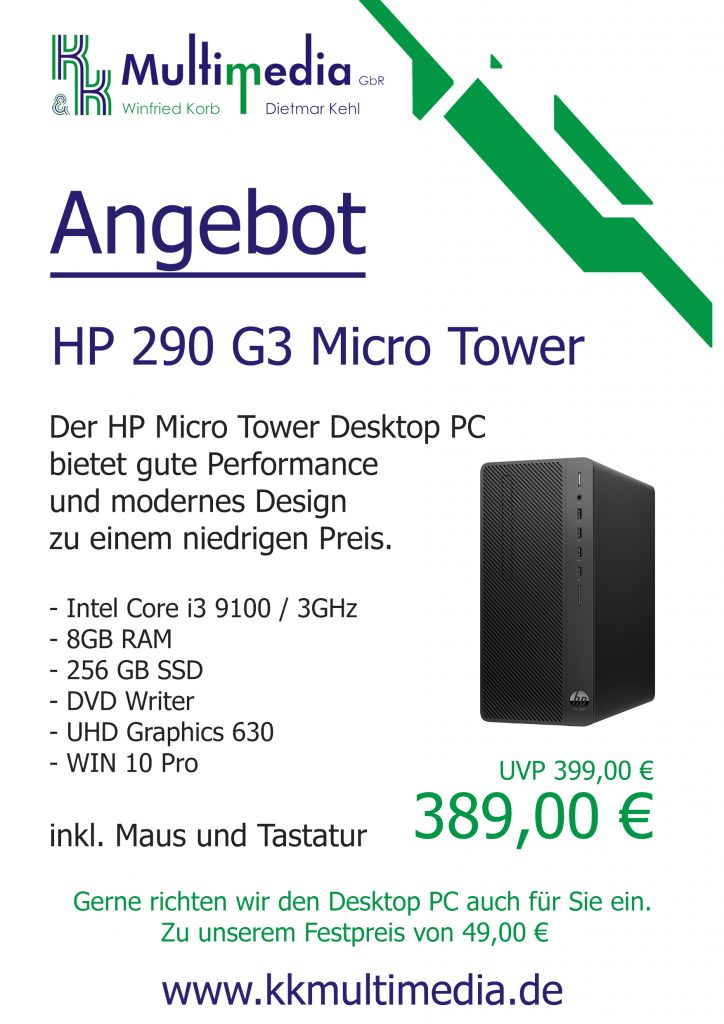 HP 290 G3 Micro Tower - 389,00 €